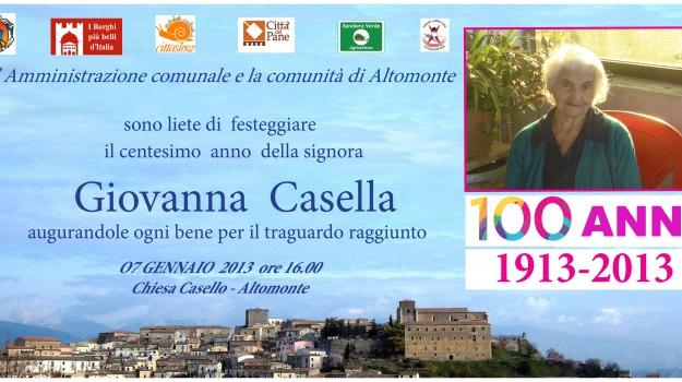 altomonte, centenaria, giovanna casella, Sicilia, Archivio