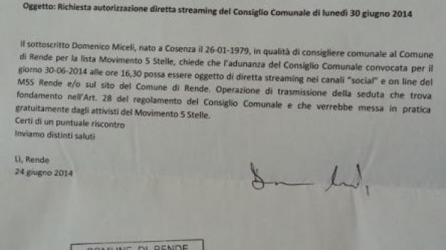 comune rende, diretta streaming, domenico miceli, m5s rende, marcello manna, Sicilia, Archivio