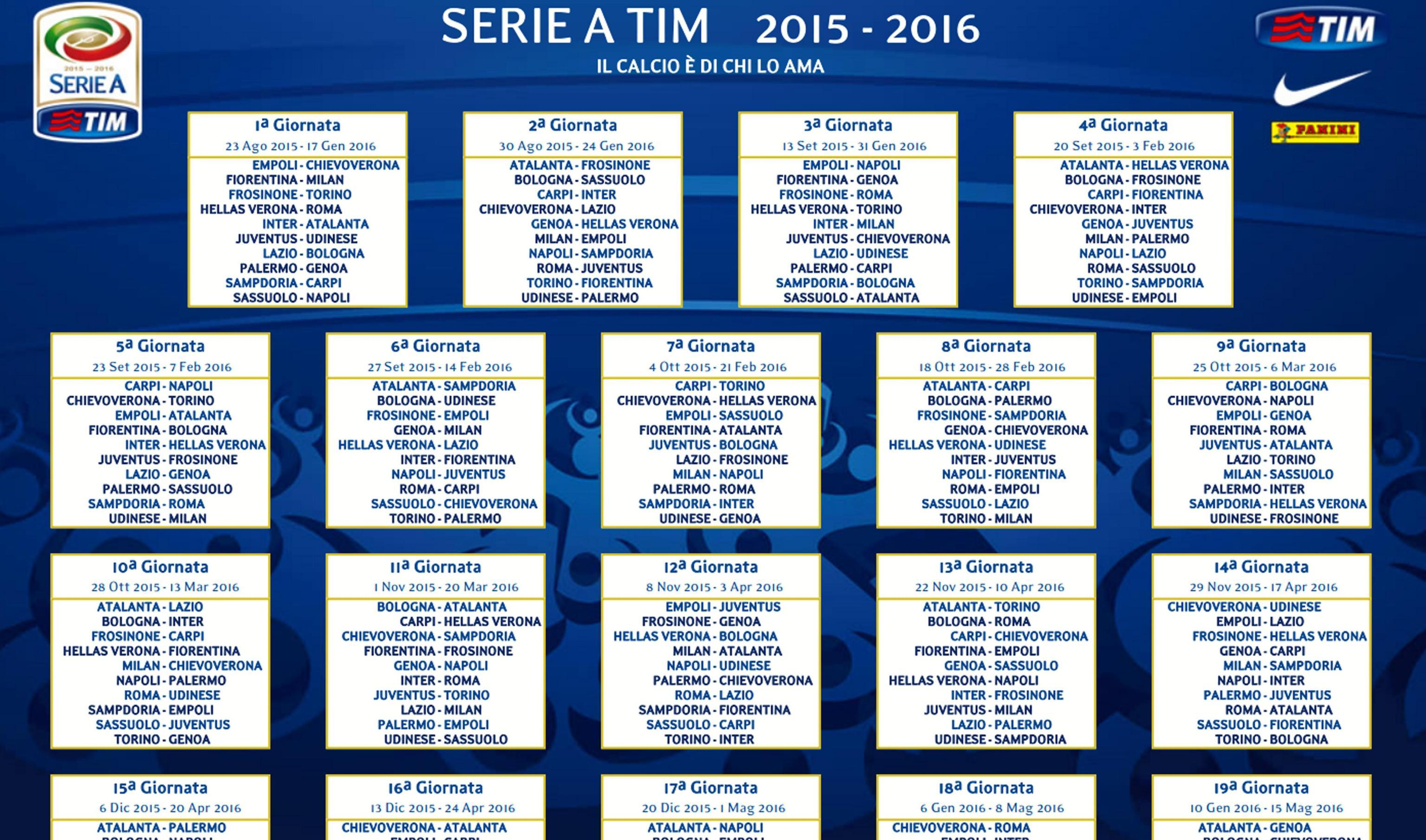 Calendario Serie A Sampdoria.Ecco Il Calendario Della Serie A Gazzetta Del Sud