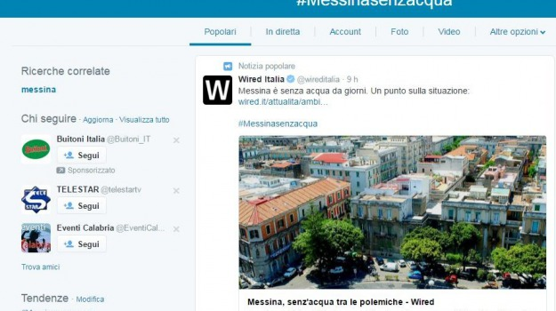 #messinasenzacqua, gazzetta del sud online, twitter, Messina, Archivio