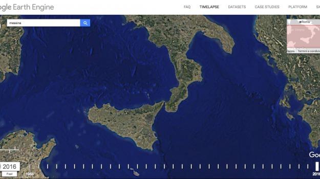 google timelapse, Sicilia, Calabria, Archivio