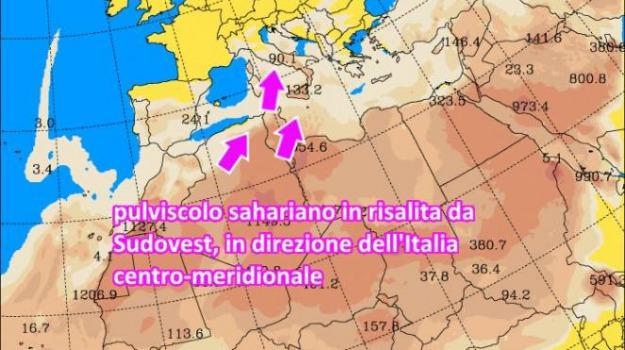 nube di sabbia sahariana, Sicilia, Calabria, Archivio