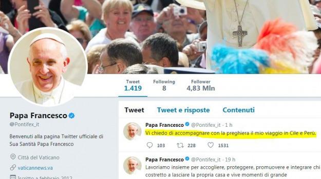 cile, francesco, tweet papa, viaggio in perù, Sicilia, Archivio, Cronaca