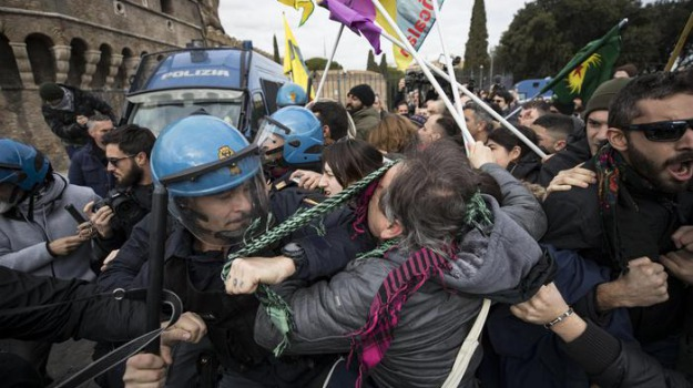 erdogan, feriti, proteste, roma, Sicilia, Archivio, Cronaca