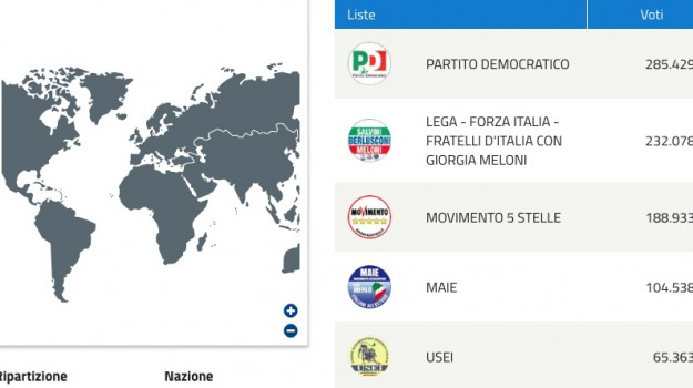 elezioni politiche 2018, voto degli italiani all'estero, Sicilia, Archivio