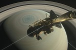 Rappresentazione grafica della sonda Cassini, pronta llaa discesa su Saturno (fonte: NASA/JPL-Caltech)