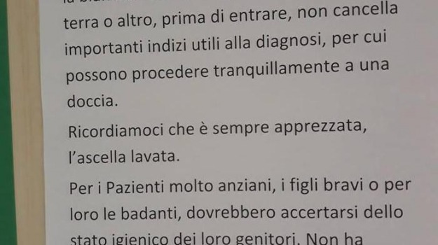 buemi, cartello, igiene personale, policlinico, Messina, Archivio