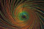 Rappresentazione grafica di un mini buco-nero, realizzata sulla base di una simulazione numerica (fonte: Max Planck Institute for Gravitational Physics, Albert Einstein Institute/AEI; visualization by W Benger, Zuse Institute, Berlin/AEI)