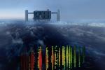 Rappresentazione grafica del rilevamente di neutrini e, sullo sfondo, la struttura dell'esperimento IceCube, in Antartide (fonte: IceCube Collaboration)