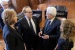 Il presidente Mattarella incontra al Forum della cultura del vino il presidente Fis Franco Maria Ricci, con Letizia Moratti e la presidente Luiss Marcegaglia