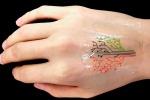 Il primo tatuaggio vivente stampato in 3D. E' fatto di batteri geneticamente programmati e getta le basi per una nuova generazione di sensori (fonte: Xuanhe Zhao et al./MIT)