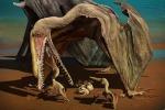 La ricostruzione artistica di un esemplare di pterosauro Hamipterus tianshanensis con i suoi cuccioli (fonte: Zhao Chuang)
