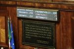 Tabellone elettronico del Senato con il risultato del voto