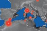 Ricostruzione dei vulcano attivati nell'area del Mediterraneo in seguito all'evaporazione (fonte: Pietro Sternai, Università di Ginevra)