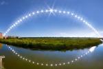 L'arco che percorre il Sole nel suo moto diurno dall'alba al tramonto nel giorno del Solstizio dalla riserva naturale di Daccia Botrona (Gr) (fonte: Marco Meniero, www.meniero.it)