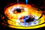 Rappresentazione artistica di una collisione di buchi neri (fonte: NASA)