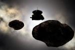 Una rappresentazione artistica del piccolo asteroide di ghiaccio '2014 MU69' e della sonda New Horizons (fonte: NASA/JHUAPL/SwRI/Carlos Hernandez)