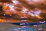 Rappresentazione artistica dekke prime molecole all'origine della vita (fonte: Ram Krishnamurthy / Center for Chemical Evolution / Scripps Research Institute)