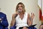 Martina Colombari in occasione della presentazione dell'ottavo Rapporto di Responsabilit Sociale d'Impresa del gruppo alimentare di Alba (Cuneo)