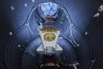 Un modulo dela satellite Bepi Colombo durante un test all'interno del sole artificiale, presso l'Estec (fonte: ESA-Anneke Le Floc'h)