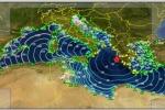 Rappresentazione grafica dell'onda di tsunami generata dal terremoto del 26 ottobre in Grecia (fonte: INGV)