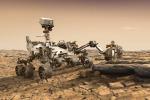 Rappresentazione artistica del rover Mars 2020 mentre studia il suolo marziano (fonte: Nasa/Jpl-Caltech)