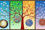 Da sinistra: il virus della varicella è più diffuso in primavera (NIAID/NIH,Flickr), quello della poliomielite in inverno (AJC1, Flickr), la malattia di Lyme in autunno (Pixnio) e l'influenza in inverno (Pixabay) (immagine delle stagioni: Pexels)