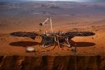 Rappresentazione artistica della sonda Insight su Marte (fonte: NASA)