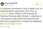Decreto fiscale, arriva la nuova Autorità di sistema portuale dello Stretto