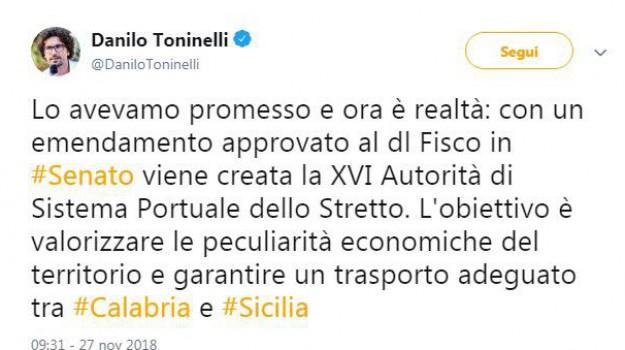 Autorità di sistema portuale dello Stretto, Danilo Toninelli, Sicilia, Economia