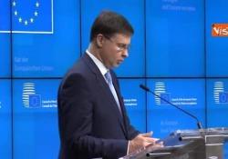 Manovra Italia, Dombrovskis: «Valutiamo procedura per deficit eccessivo» La conferenza stampa a Bruxelles del Vice-presidente della Commissione Europea - Agenzia Vista/Alexander Jakhnagiev