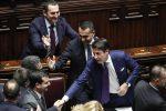 Luigi Di Maio e Giuseppe Conte al termine delle votazioni