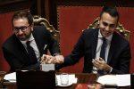 Il ministro della Giustizia Alfonso Bonafede e Luigi Di Maio al Senato