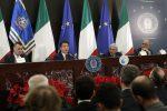 Giuseppe Conte, presidente del Consiglio, durante la conferenza stampa di fine anno