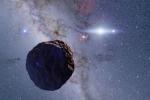 Rappresentazione artistica del corpo celeste scoperto ai confini del Sistema Solare, anello mancante nell'evoluzione dei pianeti. (fonte: Ko Arimatsu)