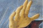 Il dettaglio della mano dell'Annunciata
