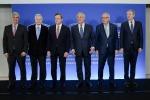 Mario Centeno, Jean-Claude Trichet, Mario Draghi, Antonio Tajani, Jean-Claude Juncker, George Ciamba - fonte: PE