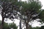 Un lampione distrutto dai vandali