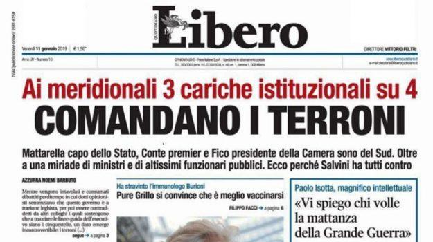 comandano i terroni, prima pagina libero, Leoluca Orlando, Luigi Di Maio, Mario Borghezio, Vittorio Feltri, Sicilia, Cronaca