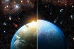 A sinistra la Terra resa abitabile dalla pioggia di elementi radioattivi; a destra come sarebbe stata se fosse nata in un ambiente più tranquillo (fonte: Thibaut Roger)