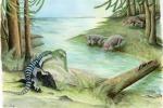 Rappresentazione artistica del 're dell'Antartide', il dinosauro simile a un grande iguana. (fonte: Adrienne Stroup, Field Museum)