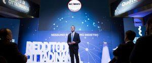 Luigi Di Maio, vice premier e ministro del Lavoro e dello Sviluppo Economico, durante l'evento del Movimento 5 Stelle sul reddito di cittadinanza