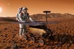Rappresentazione artistica di un asteronauta su Marte (fonte: ESA)