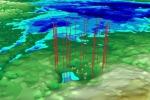 Ricostruzione radar del cratere da impatto sepolto nei ghiacci della Groenlandia (fonte: NASA's Goddard Space Flight Center/ Jefferson Beck)