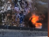 Tir giù dal viadotto sulla Palermo-Catania, camion in fiamme in fondo alla scarpata