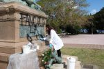 Scritte vandaliche sul monumento alla batteria Masotto a Messina, via alla pulitura