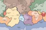Mappa delle principali placche tettoniche in cui è frammentata la crosta terrestre. (fonte: US Geological Survey)