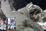 Sullo sfondo la passeggiata spaziale dell'astronauta della Nasa Sunita Williams; nei riquadri le protaginste della prima passeggiata spaziale al femminile: Anne McClain, a sinistra, e Christina Koch (fonte: NASA, Beth Weissinger)
