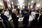 Italian President Sergio Mattarella with Chinese President Xi Jinping during a dinner held in honor of his visit at the Quirinale Palace in Rome, Italy, 22 March 2019.ANSA/QUIRINALE PRESS OFFICE/PAOLO GIANDOTTI+++ ANSA PROVIDES ACCESS TO THIS HANDOUT PHOTO TO BE USED SOLELY TO ILLUSTRATE NEWS REPORTING OR COMMENTARY ON THE FACTS OR EVENTS DEPICTED IN THIS IMAGE; NO ARCHIVING; NO LICENSING +++