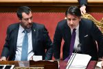 Il vicepremier e ministro dell'Interno, Matteo Salvini, e il presidente del Consiglio, Giuseppe Conte